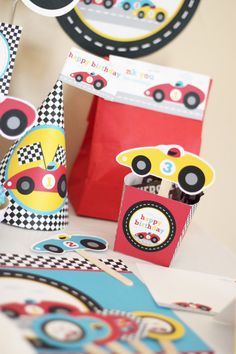 Red Race (Racing) Car Birthday Printable DIY Party Kit - Instant Download