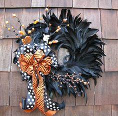 Halloween wreath halloween decorations, holiday, polka dots, feather wreath, oranges, fall wreaths, feathers, halloween wreaths, black