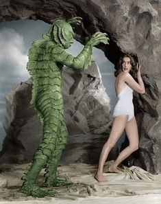 Again, the beautiful Julia Adams and the ugly creature from the Black Lagoon ...
