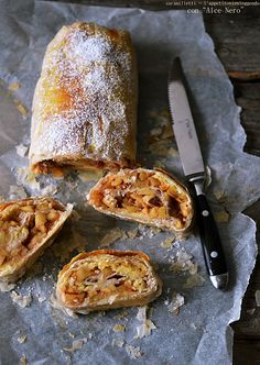 Strudel natalizio con panettone I'm posting this recipe to my czech folder because my Czech grandmother made the best struddle and i never got her recipe even though I was honored to help her. Memories