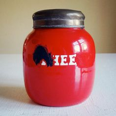 vintage enamelware canister, Dutch storage tin for tea. Available at AtticAntics on Etsy, $24.00