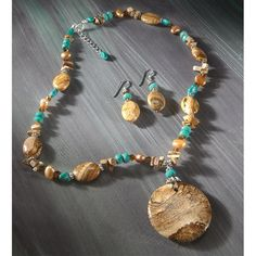 3 - Pc. Jasper Beaded Jewelry Set includes a Necklace, Pendant and matching Earrings. SAVE BIG!