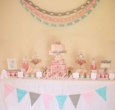 birthday parties, color, dessert tabl, first birthdays, 1st birthdays, parti idea, paper chains, birthday ideas, baby showers