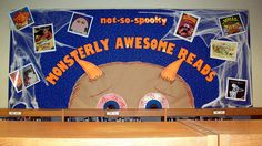 """Not-So-Spooky Monsterly Awesome Reads"" library bulletin board"