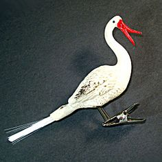 Clip On Stork or Pelican Unsilvered German Glass Christmas Ornament