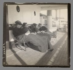 Maurice B Prendergast on deck chair on board ship (far right) ca. 1898-1900   Williams College Museum of Art, Prendergast Archive and Study Center