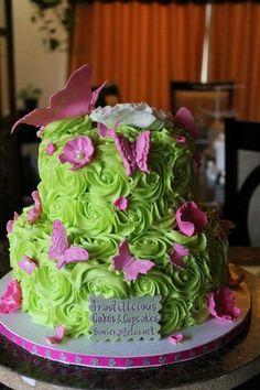 Pretty in Green Birthday Cake sweet 16 cakes, color, pretti cake ...