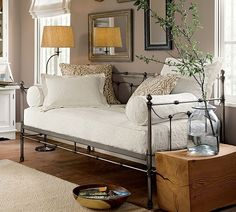 white design, color, offices, white rooms, bedrooms, roman shades, daybeds, guest rooms, pottery barn