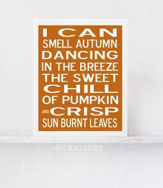 Thanksgiving Decor, Fall Decor Wall Art Print - Modern Burnt Orange Subway Art - Autumn Decor - Fall Poster Typography on Etsy, $18.00