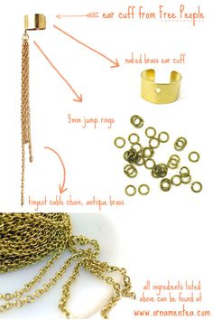 how to make your own chain dangle ear cuff, this is a simple DIY