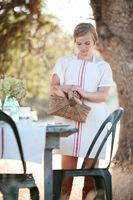 Vintage French Tolix Chairs and Lovely Linen Grain Sac Dress