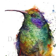 HUMMINGBIRD Large Watercolor Print By Dean by DeanCrouserArt, $75.00
