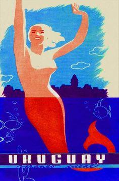1930'S NUDE RED MERMAID URUGUAY TRAVEL ART DECO POSTER