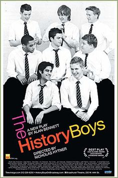 Theater poster for The History Boys by Alan Bennett, Tony Winner Best Play 2006. (Notice James Corden, middle row to our far right)