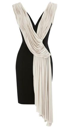 Draped Pencil Dress Black & White