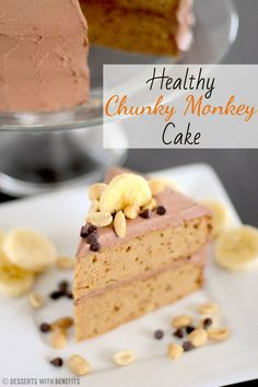 Super Moist Gluten-Free Chunky Monkey Cake — a unique and addictive cake with peanut butter, banana and chocolate, and none of the butter and sugar! [Refined Sugar Free, High Fiber, High Protein, Gluten Free]