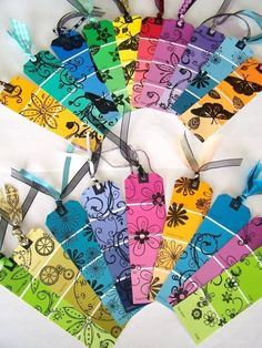 Paint colour sample strips plus stamping to make gift tags or book marks