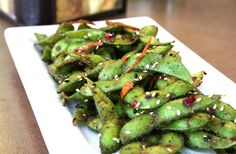 Togarashi edamame Edamame Garlic Butter Chili flakes Sesame oil Salt Pepper Seaweed Orange zest Sugar