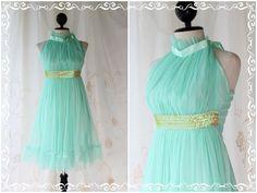 On The Floor - Cocktail Party Prom Wedding Dinner Bridesmaid Mint Blue Dress Halter See Through Sweet Romance. $54.80, via Etsy.
