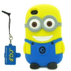 Amazon.com: DD(TM) Yellow/Blue 3D Cartoon Cute Despicable Me 2 Minions Henchmen Soft Silicone Case Skin Protective Cover for Apple iPhone 4 4G 4s 4thGeneration with 3 in 1 Anti-dust Plug/LCD Cleaning Cloth/Cable Tie: Cell Phones & Accessories