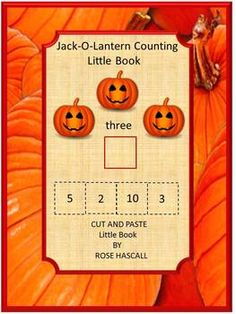 Halloween Cut and Paste Jack-O-Lantern Counting Little Book-P-K, K, Special Ed, Autism-This Halloween little book will help students improve their counting skills. They will learn to count Halloween objects and recognize their numbers. Plus, students will like having a Halloween little book to take home.
