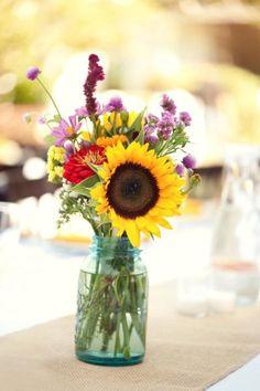 blue mason jars, galleries, masons, wedding bouquets, sunflowers, wedding flowers, rustic weddings, flower photos, centerpieces