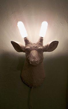 Faux deer head scounce/wall light