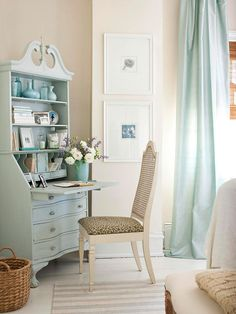This serene blue desk blends into the cottage-style bedroom and provides the perfect petite workspace. More home office storage & organization solutions: http://www.bhg.com/rooms/home-office/storage/home-office-storage/?socsrc=bhgpin053013bluedesk=3