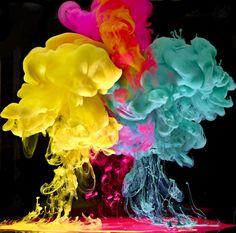 color mix, smoke art, mark mawson, neon, vibrant colors, underwater photography, cloud, paint, rainbow