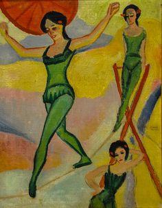 August Macke ~ Tight-Rope Walkers, 1910