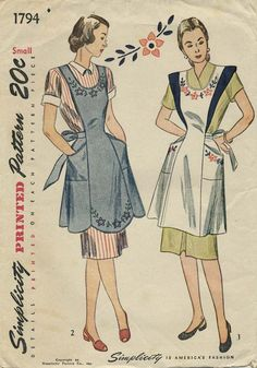 Vintage Apron Sewing Pattern | Simplicity 1794 | Year 1946 | Size Small | Bust 30-32 | Waist 25-26 | Hip 33-35 vintag apron, transfer pattern, pattern number, apron sew, apron apron, sew pattern, sewing patterns, apron pattern