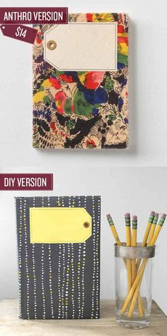 notebook covers, journals, journal covers, girl crafts, anthropologie, notebooks, diy gifts, gift tags, craft blogs