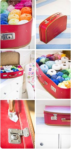 idea: storing yarn in shallow suit cases or boxes with handles. it looks so pretty, and so easy to find what color you're looking for!