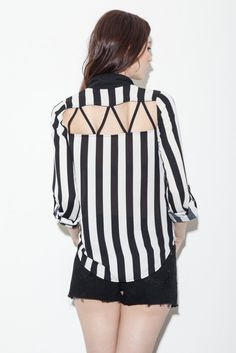 Striped button-up shirt with studded collar and back cut-outs.