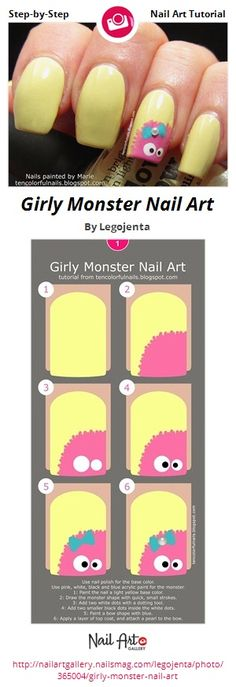 Girly Monster Nail Art by Legojenta from Nail Art Gallery