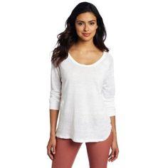 525 America Women`s Linen Basic Scoop Neck Tee, Bleach White, Small $84.00