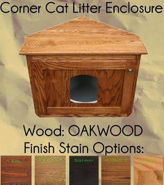 Corner Cat Litter Enclosure Oak Wood by Pinnacle    - Price: $229.00 - #catlitterboxfurniture #cat #litter #box #furniture - http://www.catbedandtoy.com/cat-litter-box-furniture