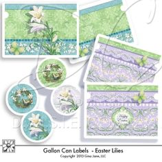 Easter Printables - Gallon Size Paint Can Labels for making your own, do it yourself Gallon size altered tins.  Fits most metal paint cans. Free Printables, Free Graphics, Free Kits, Free Digital Clip Art, Graphics and Backgrounds for Scrapbooking, Gina Jane Designs - DAISIE Company