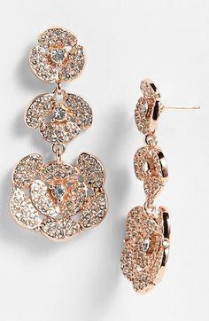 fashion, flower linear, style, roses, rose gold drop earrings, gold earring, disco pansi, kate spade, linear drop