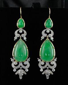 Natural green jade and diamond earrings, circa 1950's