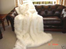 White Faux Fur Blanket Fake Fox Fur Small