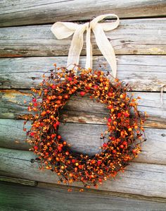 Image detail for -BURNT ORANGE & CHOCOLATE Brown Berry Wreath-Fall Autumn Door Wreath ...