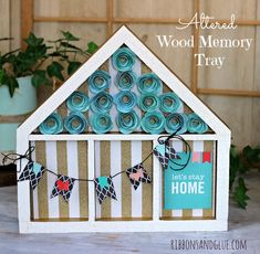 Wood Memory Tray altered  with scrapbooking paper and rolled spiral flowers #pebblesinc