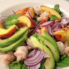 Peach avocado and shrimp salad from Chef Jay Pierce of Lucky 32 in Greensboro