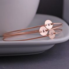 Personalized Rose Gold Jewelry, THREE, Rose Gold Mothers Bracelets, Pink Gold Filled Initial Jewelry via Etsy