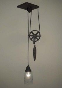 antique ball jar and pulley