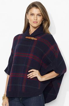 Lauren Ralph Lauren Tab Trim Plaid Poncho available at #Nordstrom