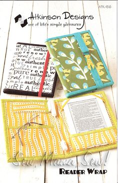 pattern for a nook/kindle/e-reader cover that only takes three fat quarters to make!
