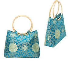 Handbag, rayon with bamboo handles, turquoise blue and green, 12-3/4 x 11 x 3 inches. Sold individually.