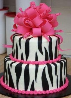 Zebra Cake with pink accents!  I love it!